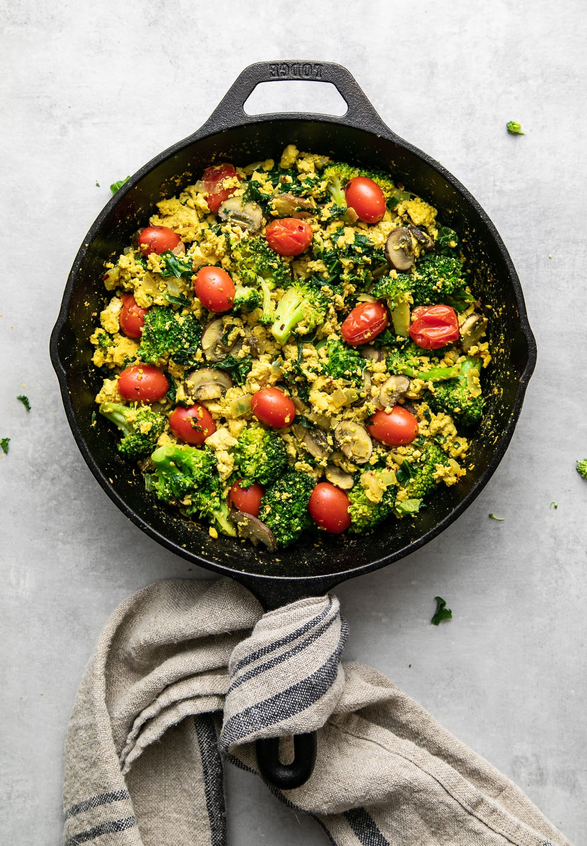 top down view of freshly made vegan southwest tofu scramble in a skillet.