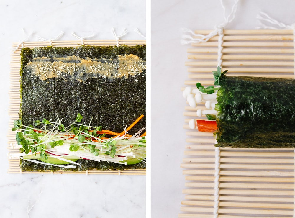 side by shot of bamboo sushi rolling mat with a sheet of nori piled with veggies at one end and miso at the other end; next is a picture of the vegan sushi rolled up