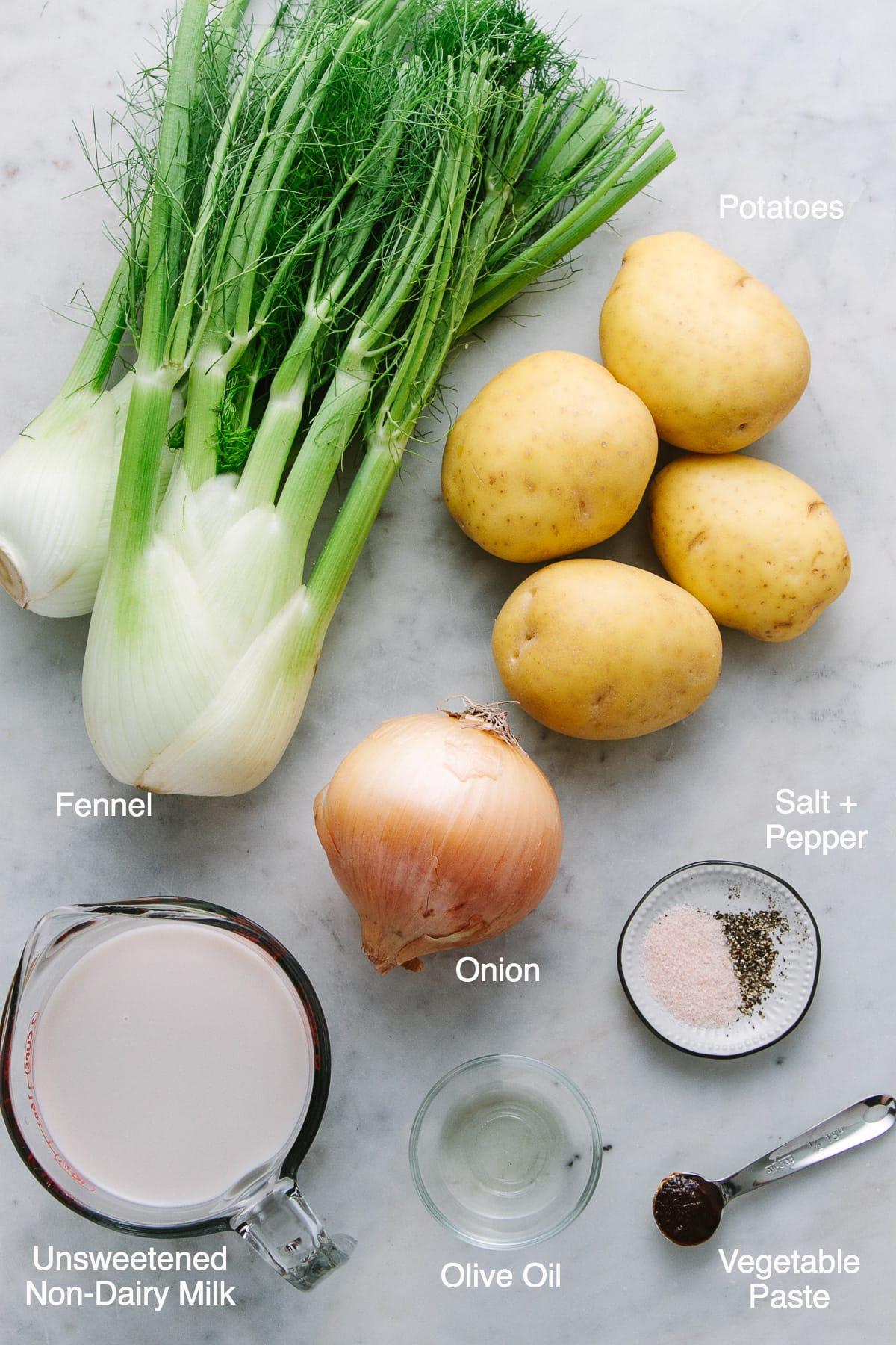 top down view of the ingredients used to make roasted fennel and potato soup.