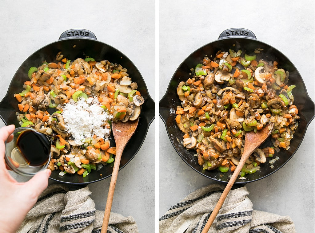 side by side photos showing the process of adding flour and tamari to filling.