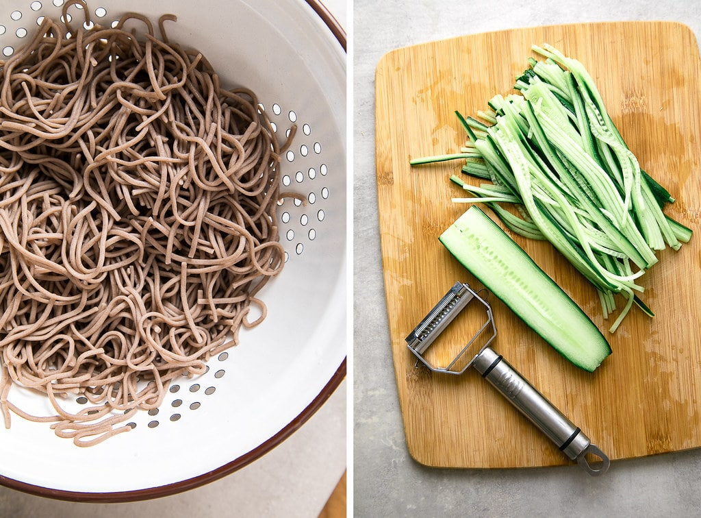 side by side photos of cooked soba noodles and julienned cucumber noodles.