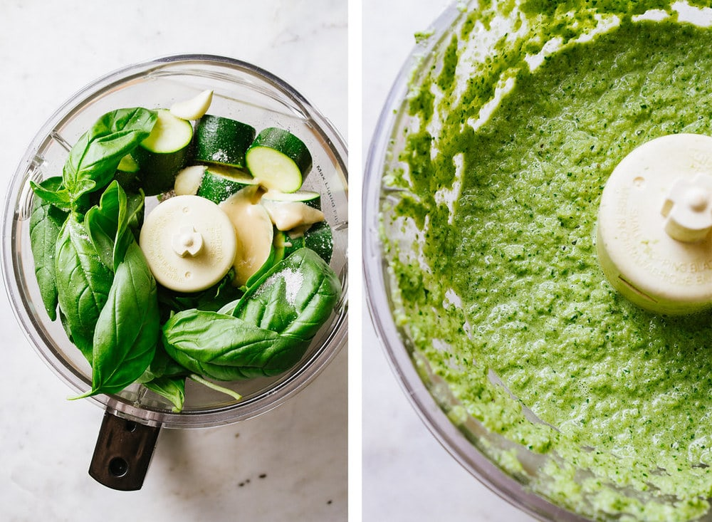 side by side shot of basil and zucchini in food processor, by a photo of the zucchini blended and creamy