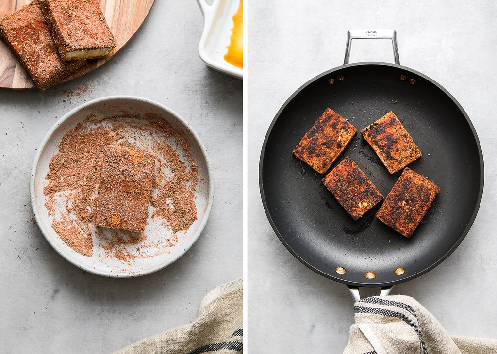 side by side photos showing the process of making blackened tofu.