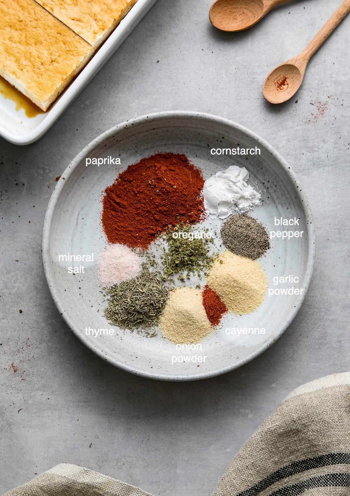 top down view of ingredients used to make blackened tofu