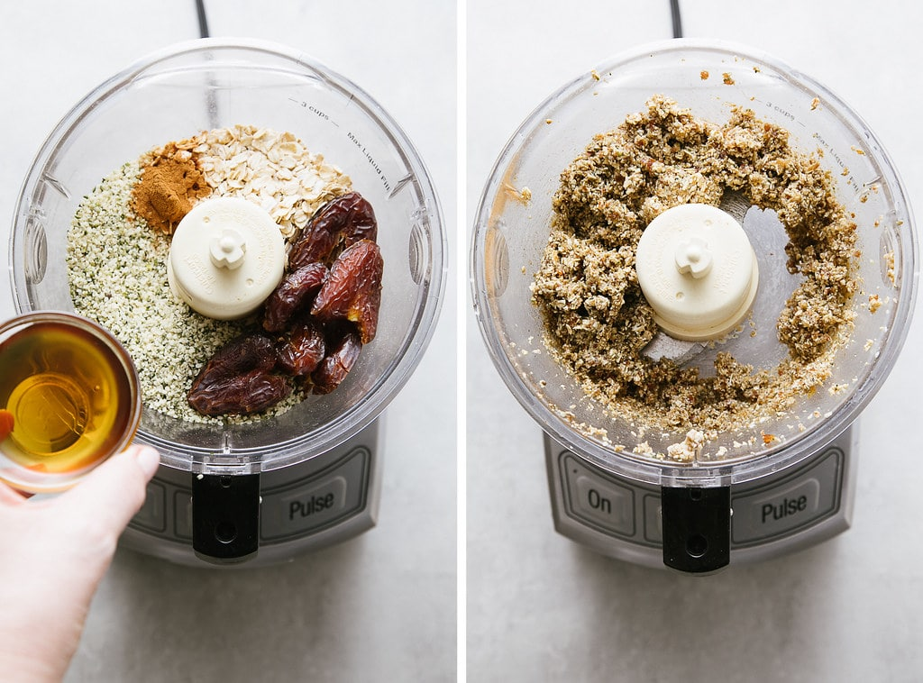 side by side photos showing the process of making healthy hemp heart energy bites in a food processor.