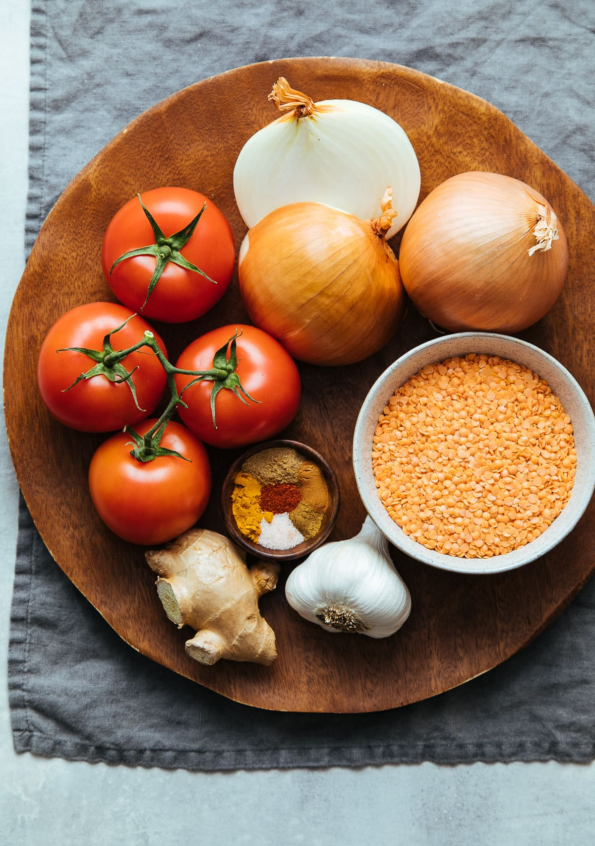 top down view of ingredients needed to make spicy lentil dal recipe.