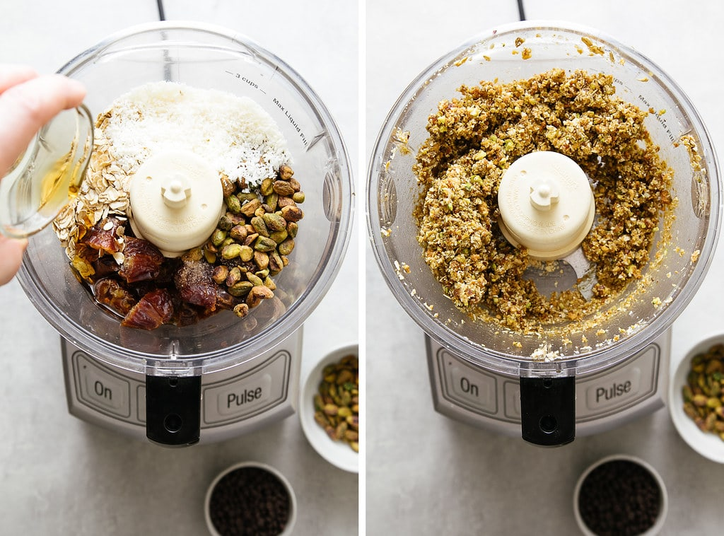 side by side photos showing the process of making no bake cookie balls in food processor.