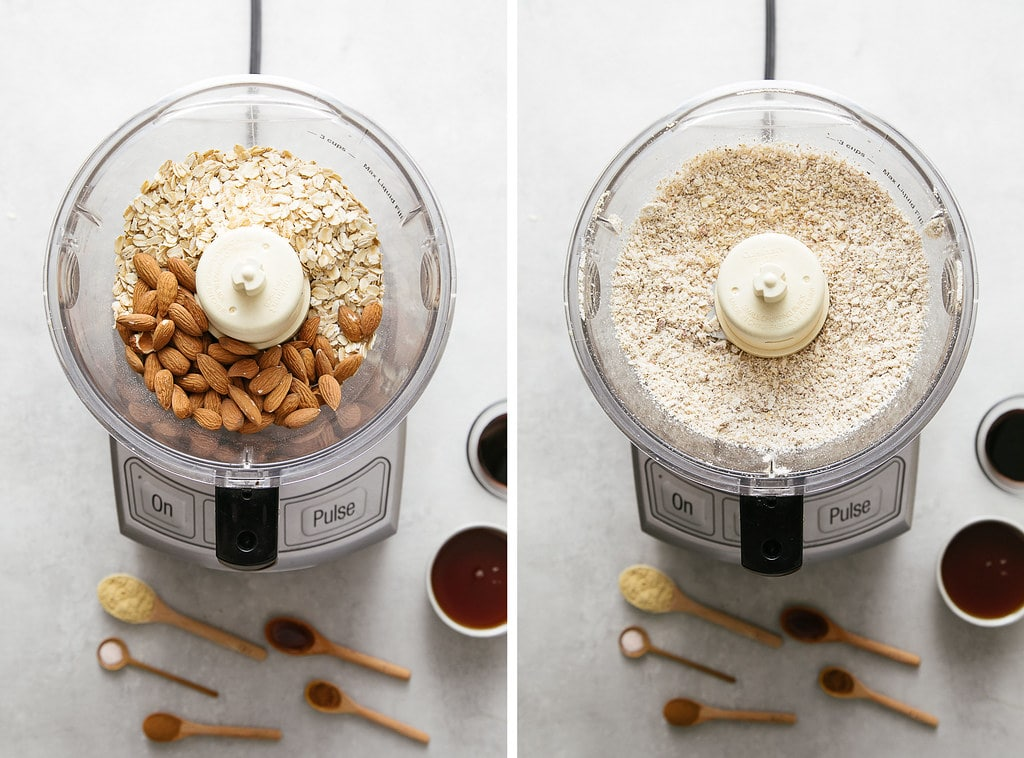 side by side photos showing the process of making oat and almond flour.