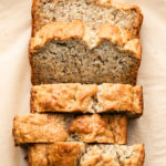 top down angle view of sliced vegan banana bread