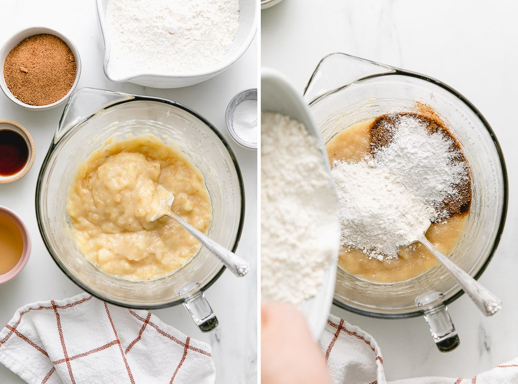 top down, side by side shot of a stainless steel bowl with freshly mashed bananas, next to the same bowl with added flour, sugar and baking powder and baking soda