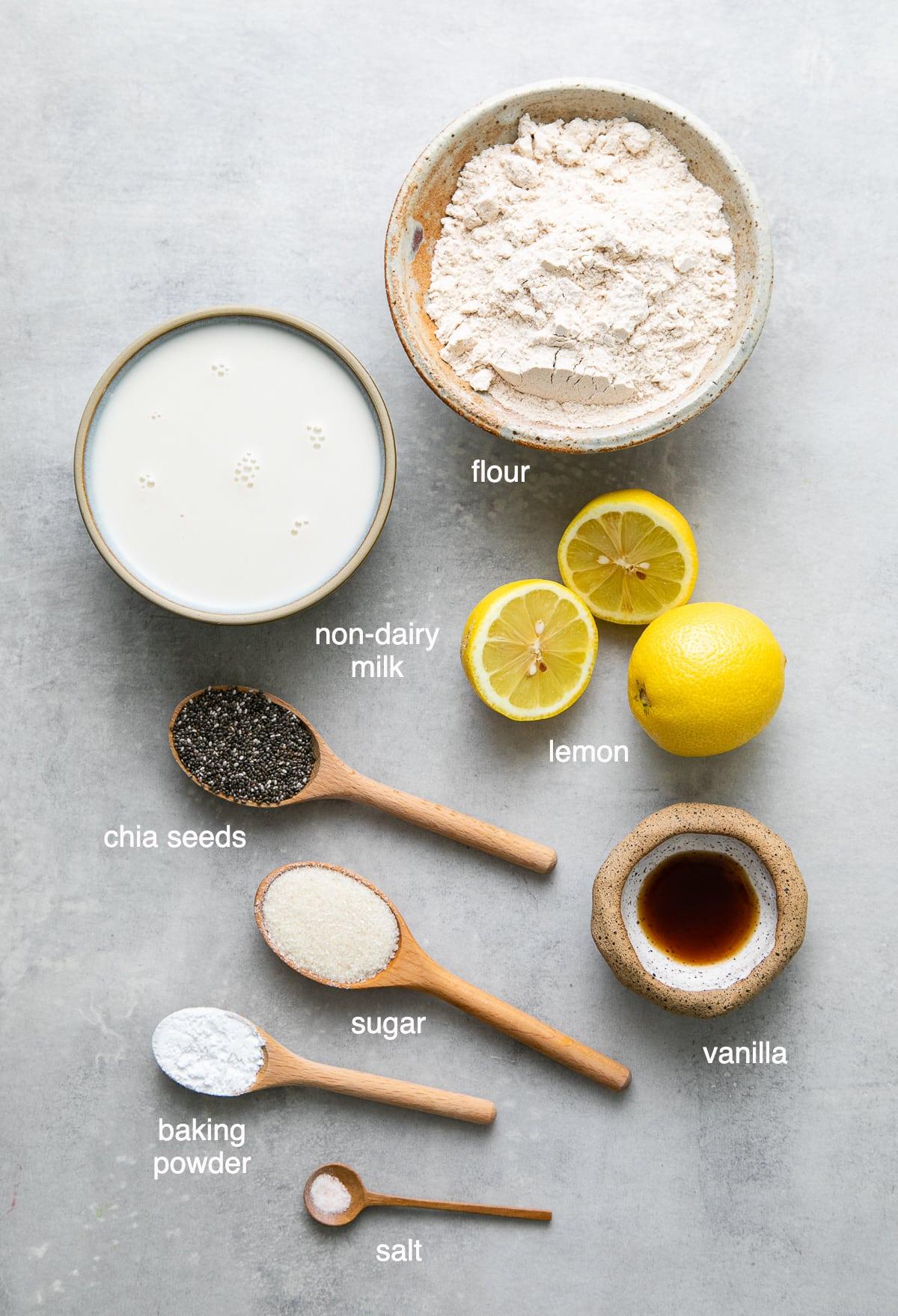 top down view of ingredients used to make vegan lemon chia seed pancakes recipe.