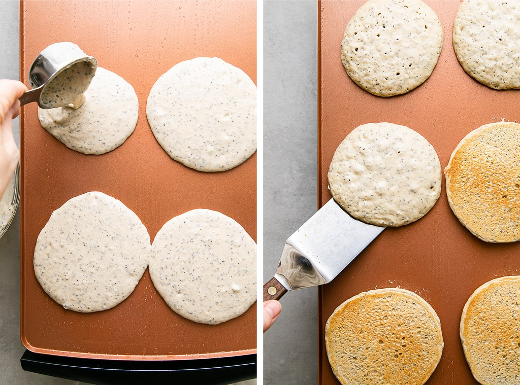 side by side photos showing the process of making lemon chia seed pancakes on a griddle.