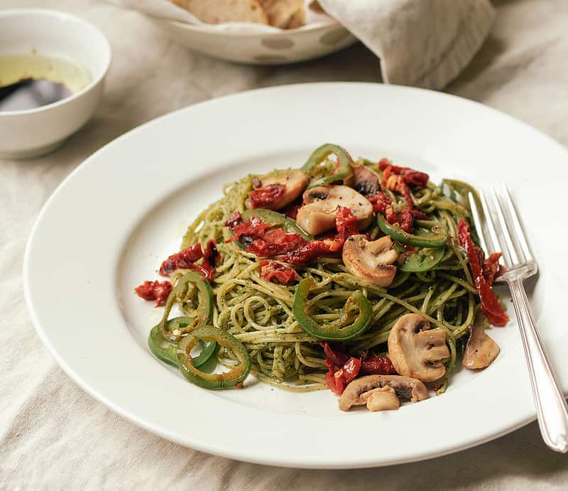 Basil Walnut Pesto with Mushrooms, Jalapeno's & Sun-Dried Tomatoes