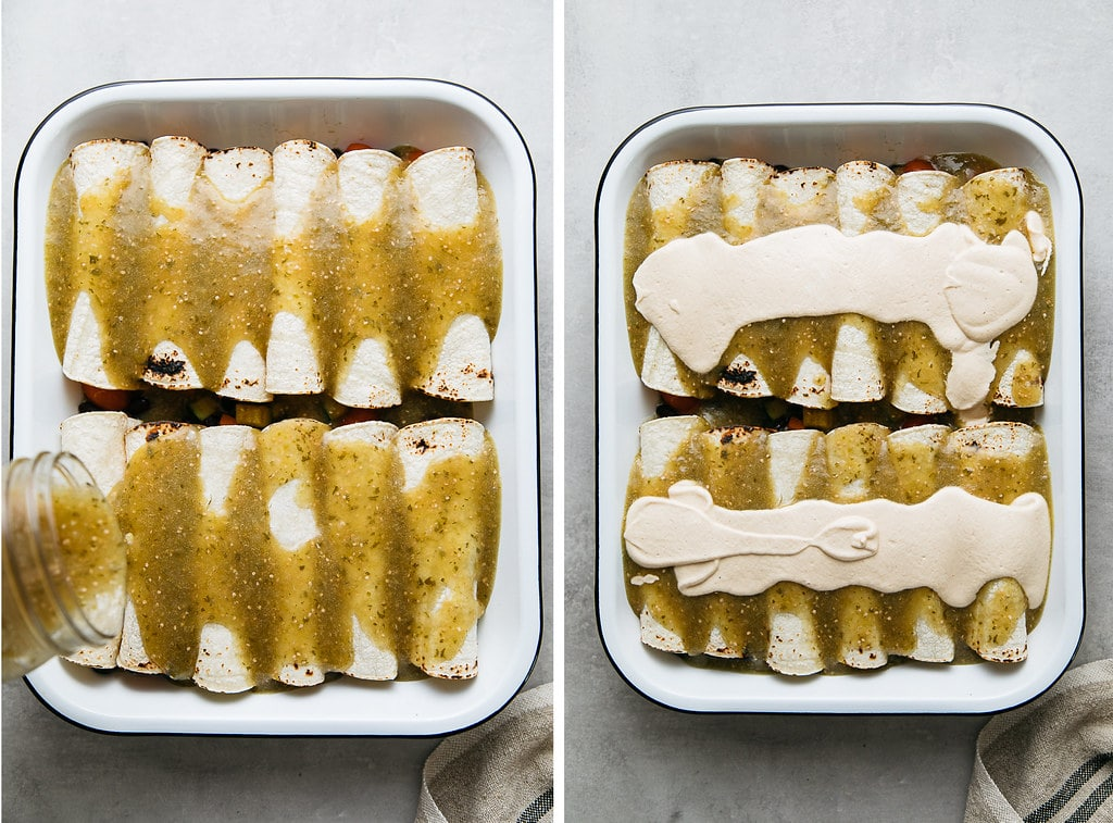 side by side photos showing pouring vegan enchilada sauce and cashew cream on enchiladas before baking.