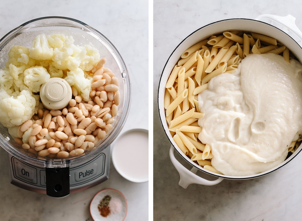 side by side pic of cauliflower and beans added to a food processor, next to the ingredients blended together