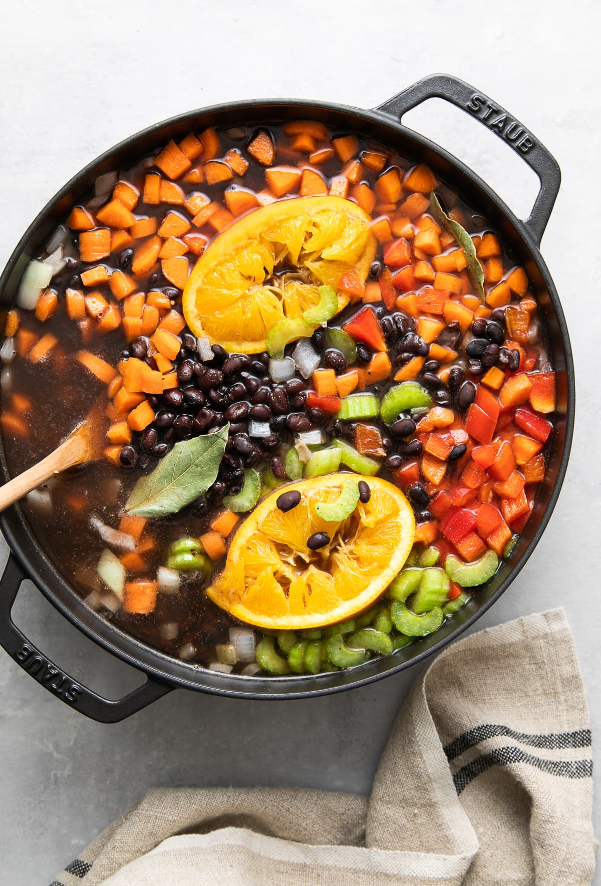 top down view of cuban black bean soup before bringing to a boil on the stovetop.
