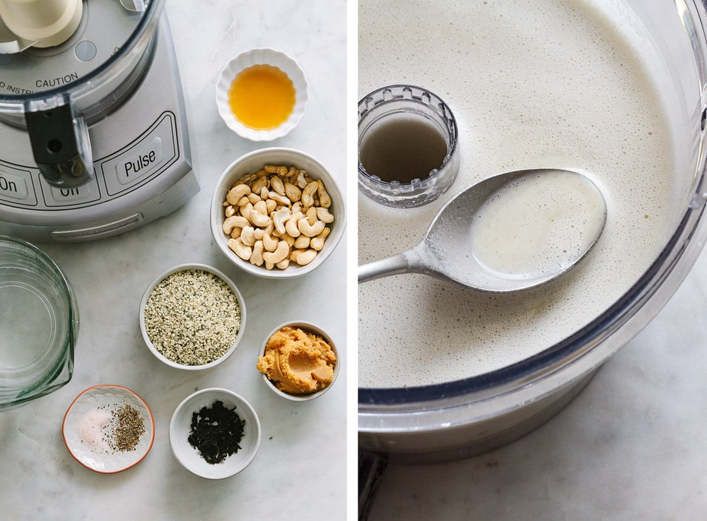 ingredients for raw miso soup on a marble slab and then blended into creamy vegan miso soup