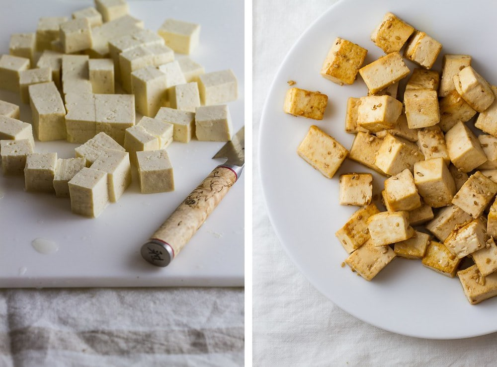 side by side photo of diced tofu and tofu that has been marinated and cooked