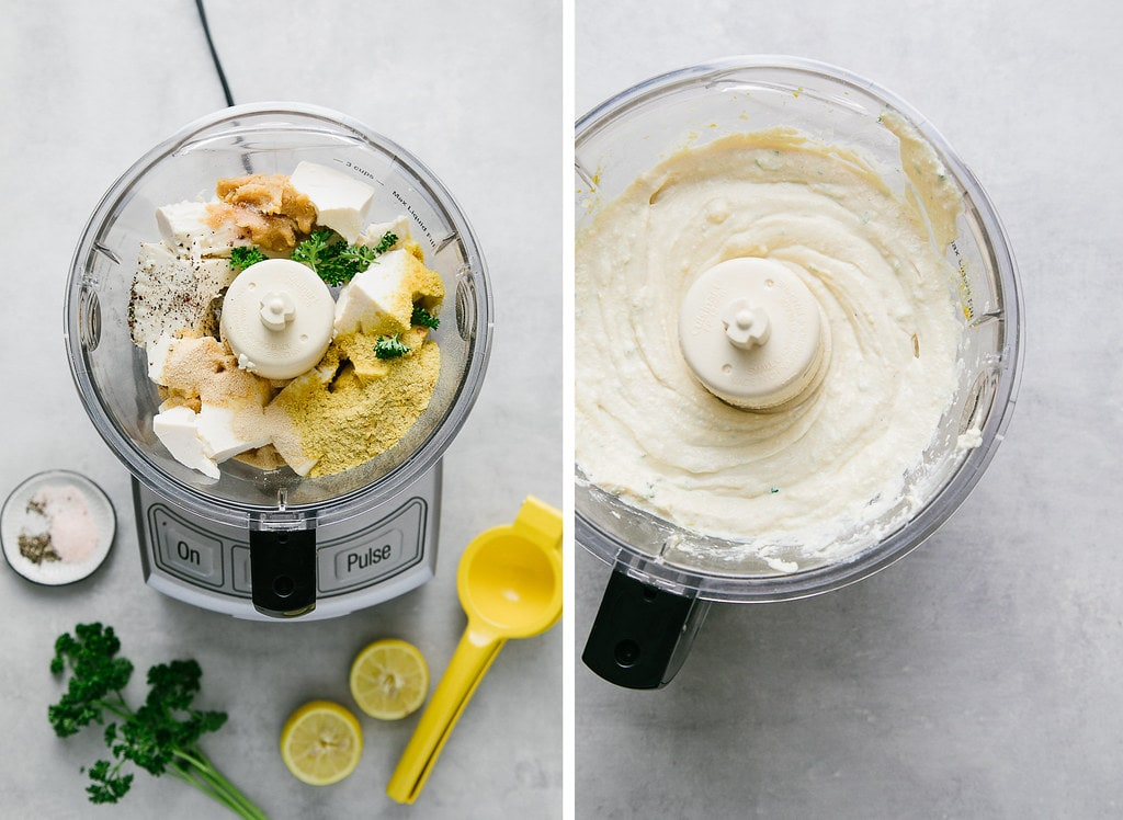 side by side photos showing the process of making vegan white pizza sauce in a food processor.