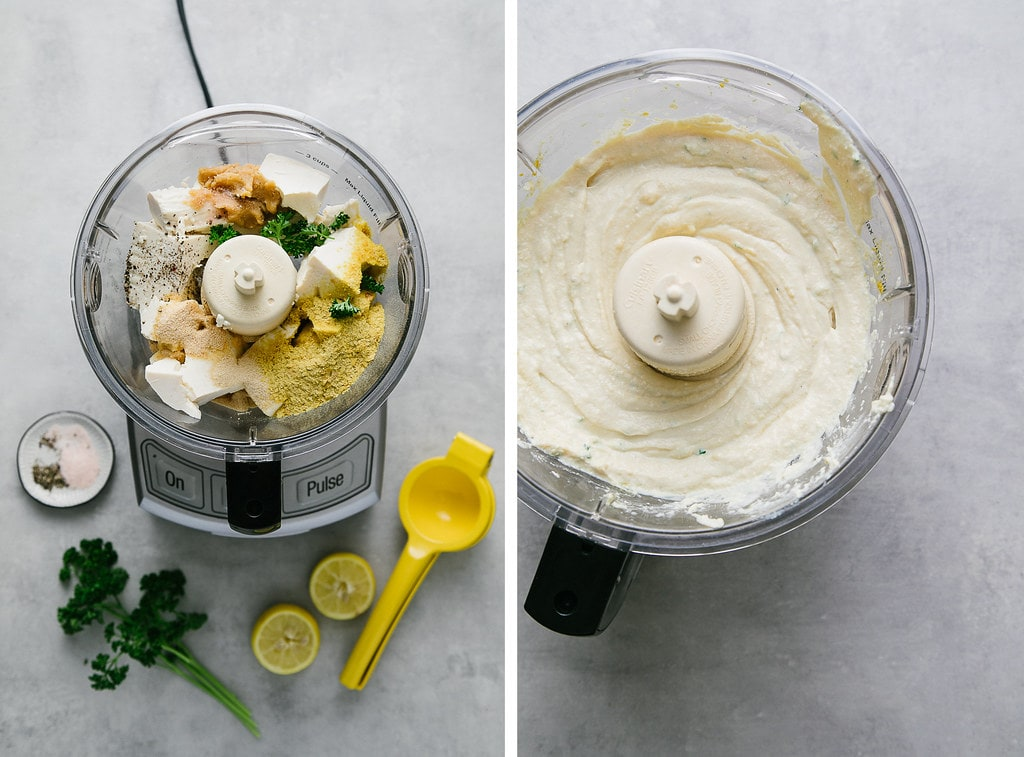 side by side photos showing the process of making vegan white pizza sauce.