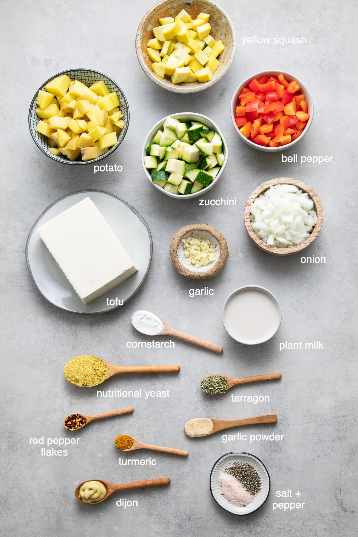 top down view showing the ingredients used to make vegetable vegan frittata recipe.