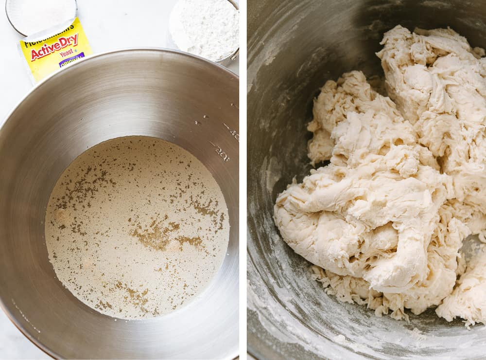 dough for artisan bread is being prepped in a bowl