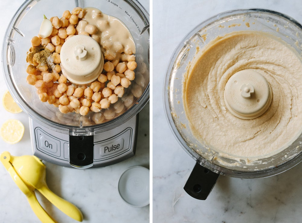 side by side comparison of ingredients for hummus added to the bowl of food processor, next to hummus blended and ready to serve.