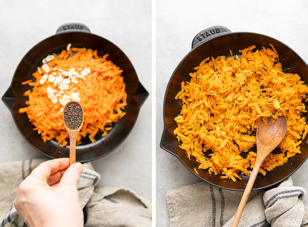 side by side photos showing the process of sauting spice carrot mix in cast iron pan.