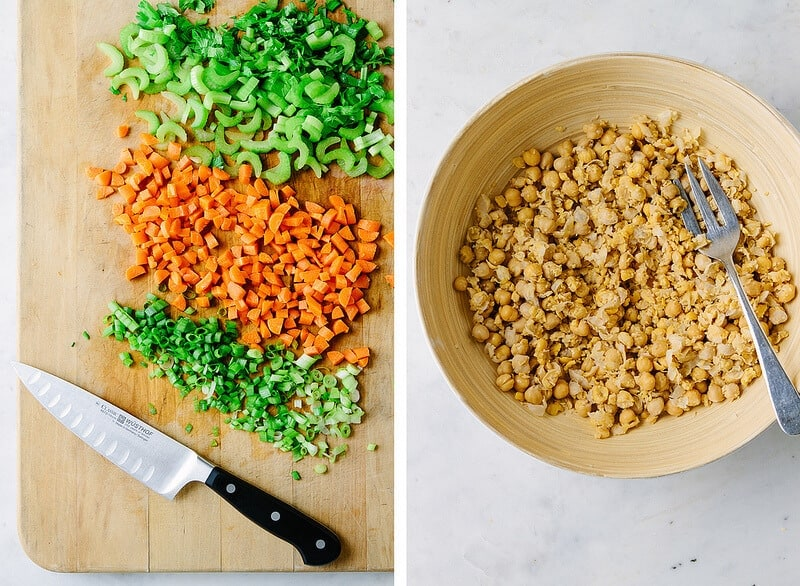 prepping mashed chickpea salads produce and roughly mashing the chickpeas