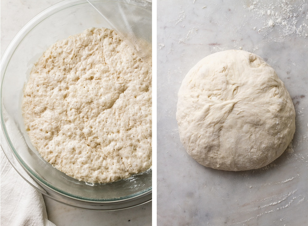 no knead bread dough has rested and risen, and shaped into a ball