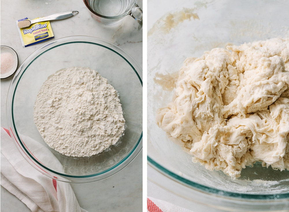 ingredients for no knead bread, dough has been mixed