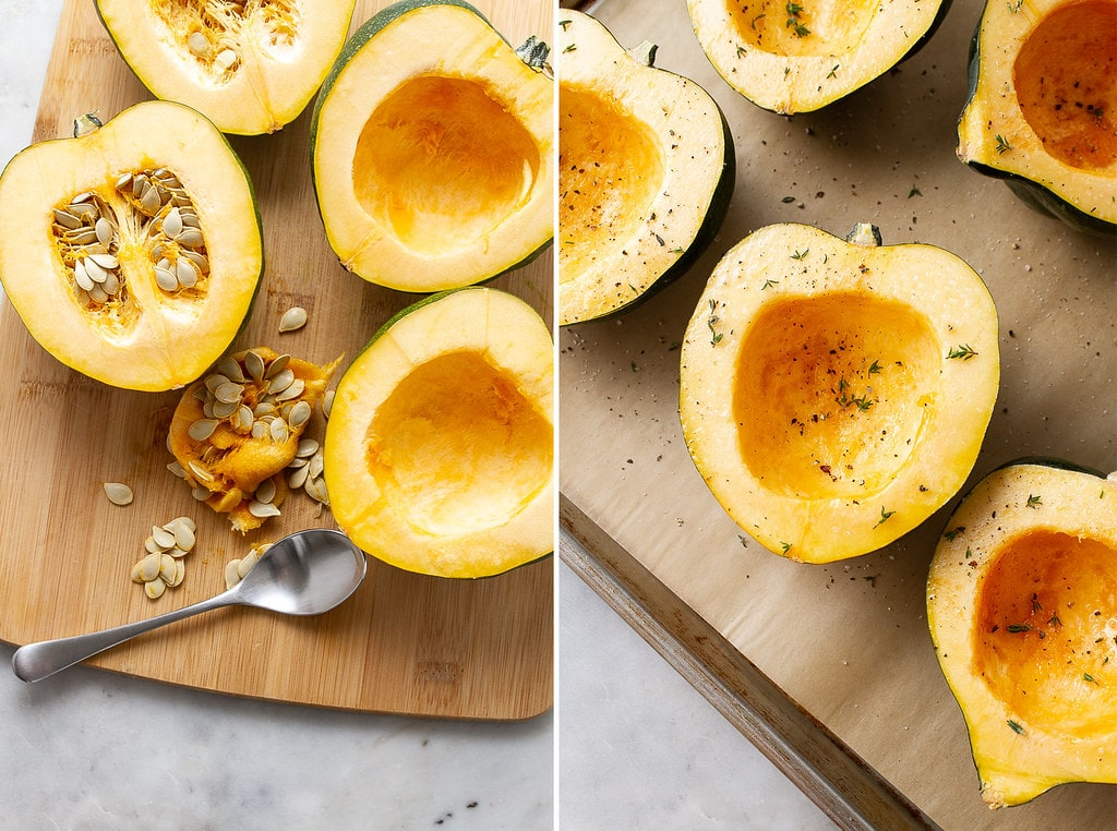 side by side photos showing the process of prepping acorn squash to roast.