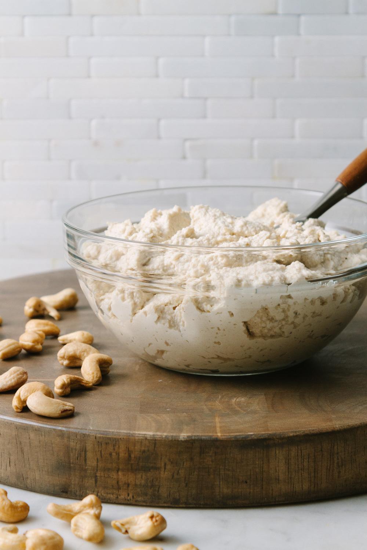 vegan cashew ricotta cheese in a bowl