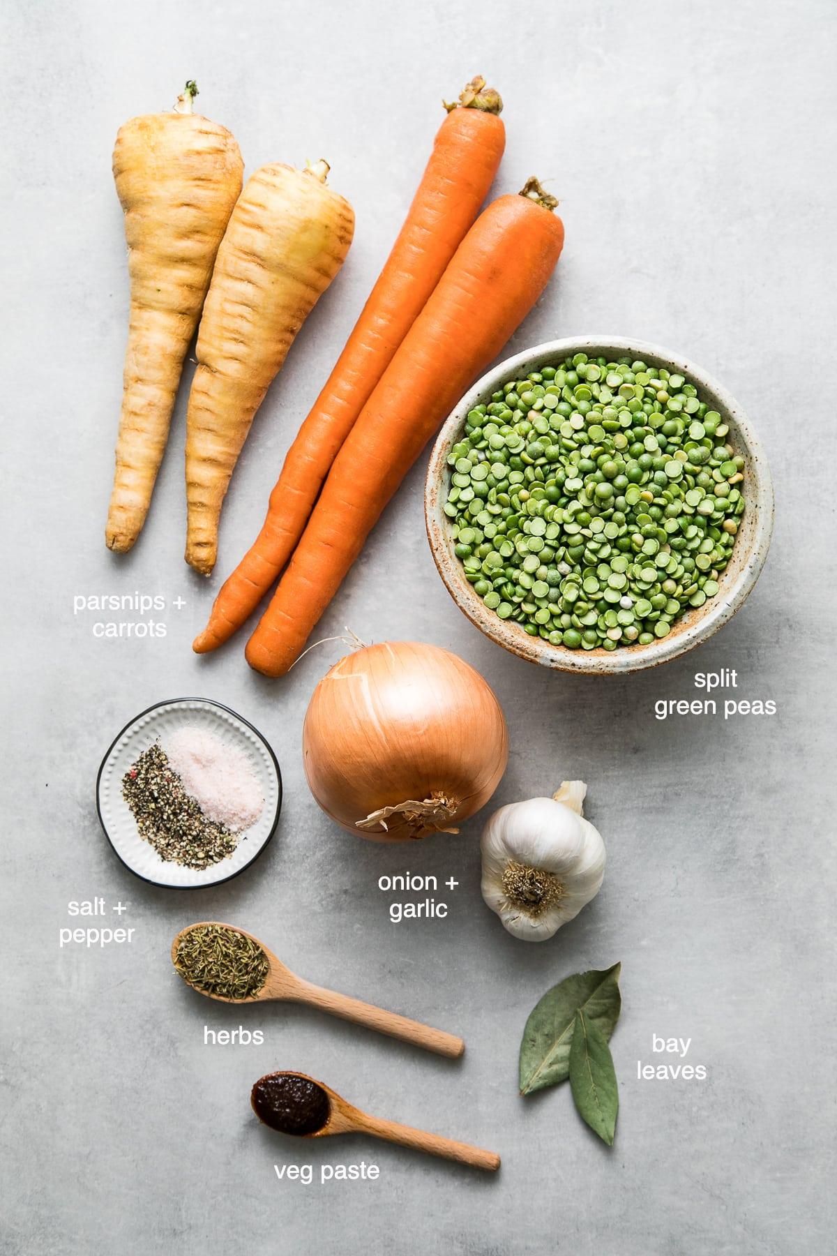 top down view of ingredients used to make vegan parsnip split pea soup recipe.