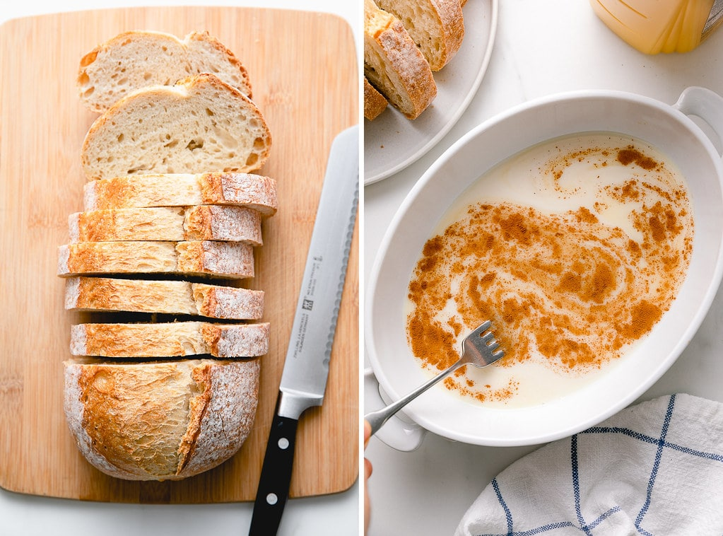 side by side photos showing the process of prepping orange french toast ingredients.