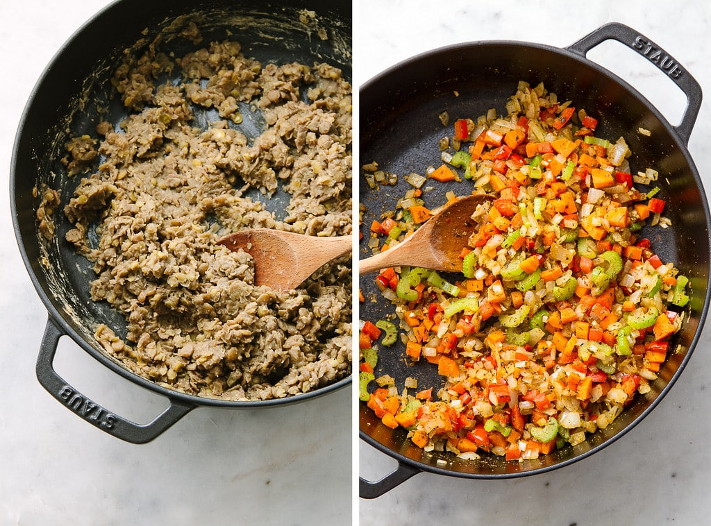 side by side photos showing the process of making lentil loaf.