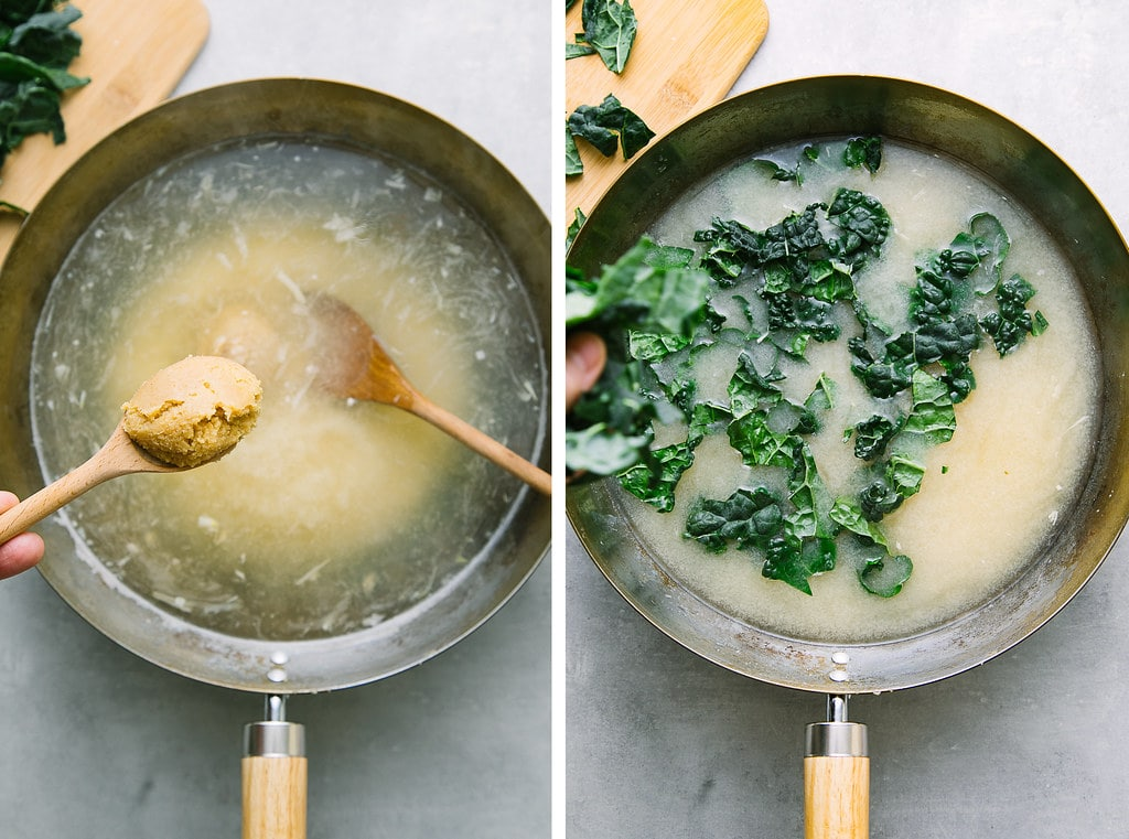 side by side photos showing the process of adding miso and kale for vegan garlic miso soup.