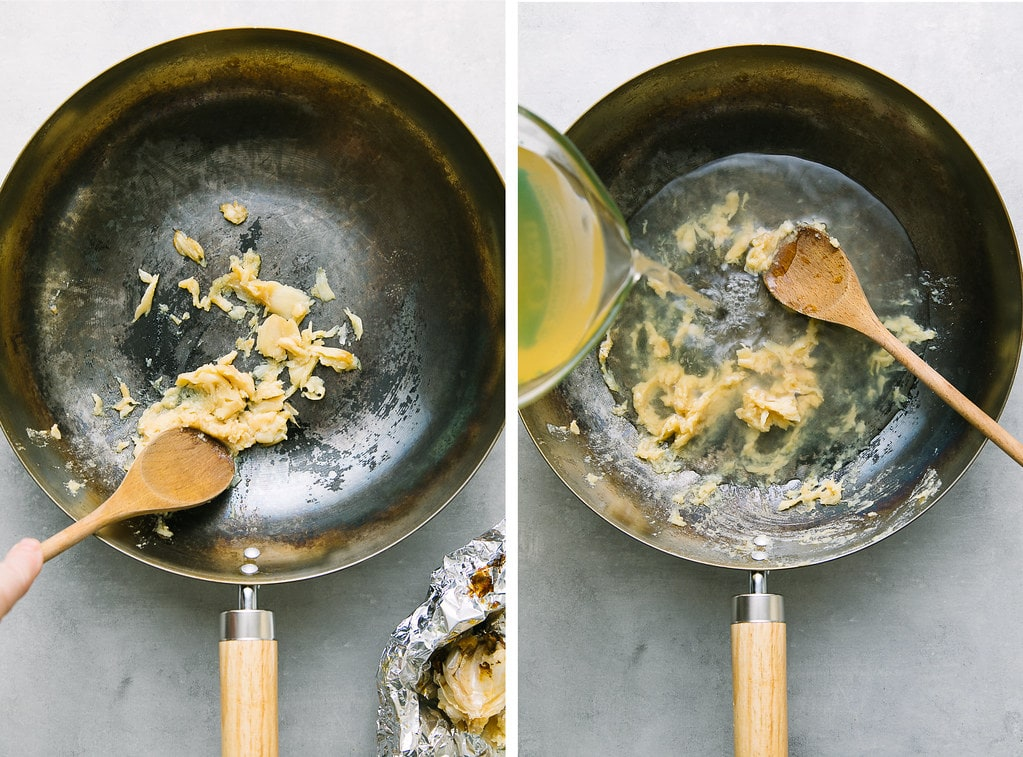 side by side photos showing the process of mashing roasted garlic and adding liquids to a pan.
