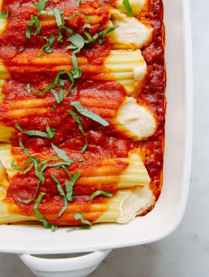 vegan cashew cheese manicotti just baked and ready to serve