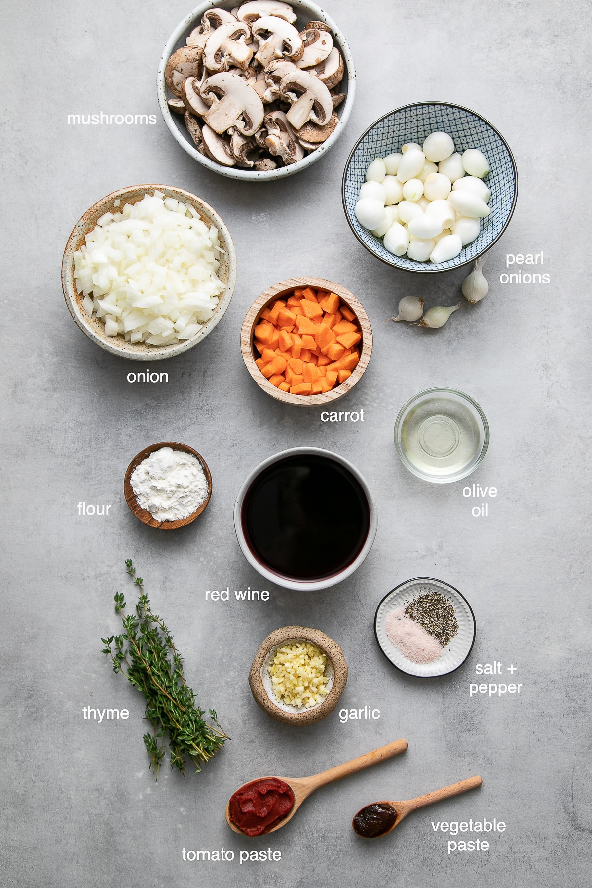 top down view of the ingredients used to make easy mushroom bourguignon.