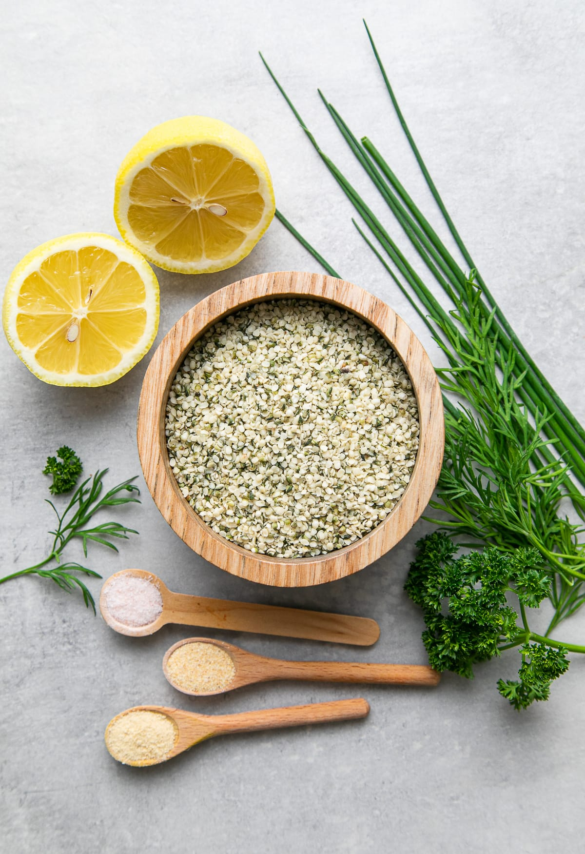 top down view of ingredients used to make ranch style herb hemp dressing recipe.