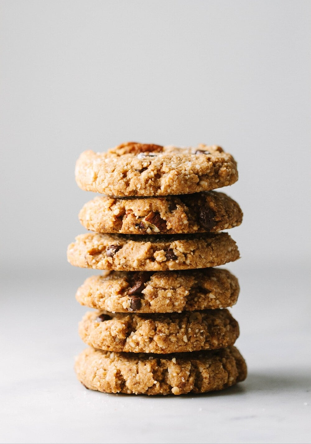 a stack of vegan pecan sandies.