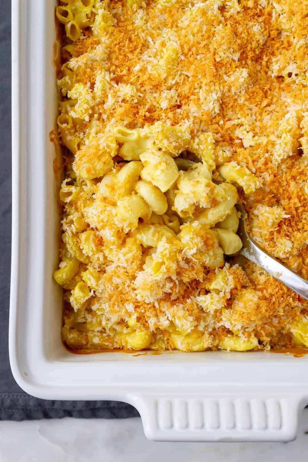 creamy vegan mac and cheese freshly baked from the oven