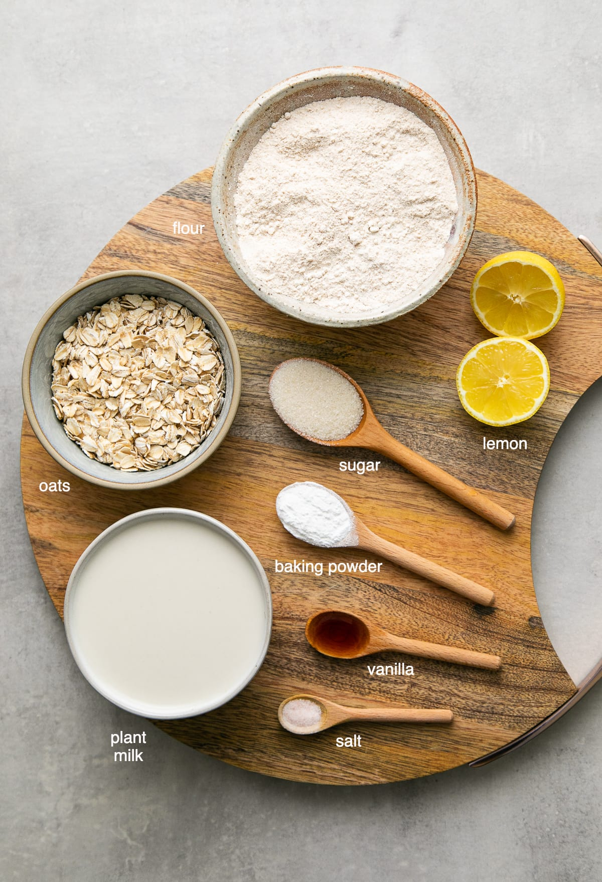 top down view of ingredients used to make healthy vegan oatmeal pancakes.