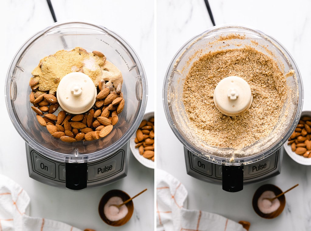 side by side photos showing the process of making almond parmesan in a food processor.