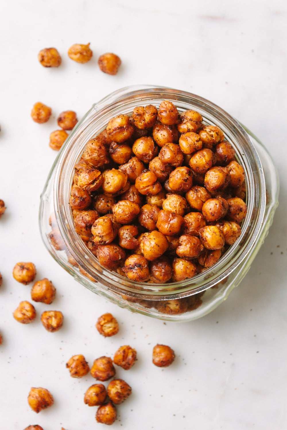 spicy oven roasted chipotle roasted chickpea in a mason jar