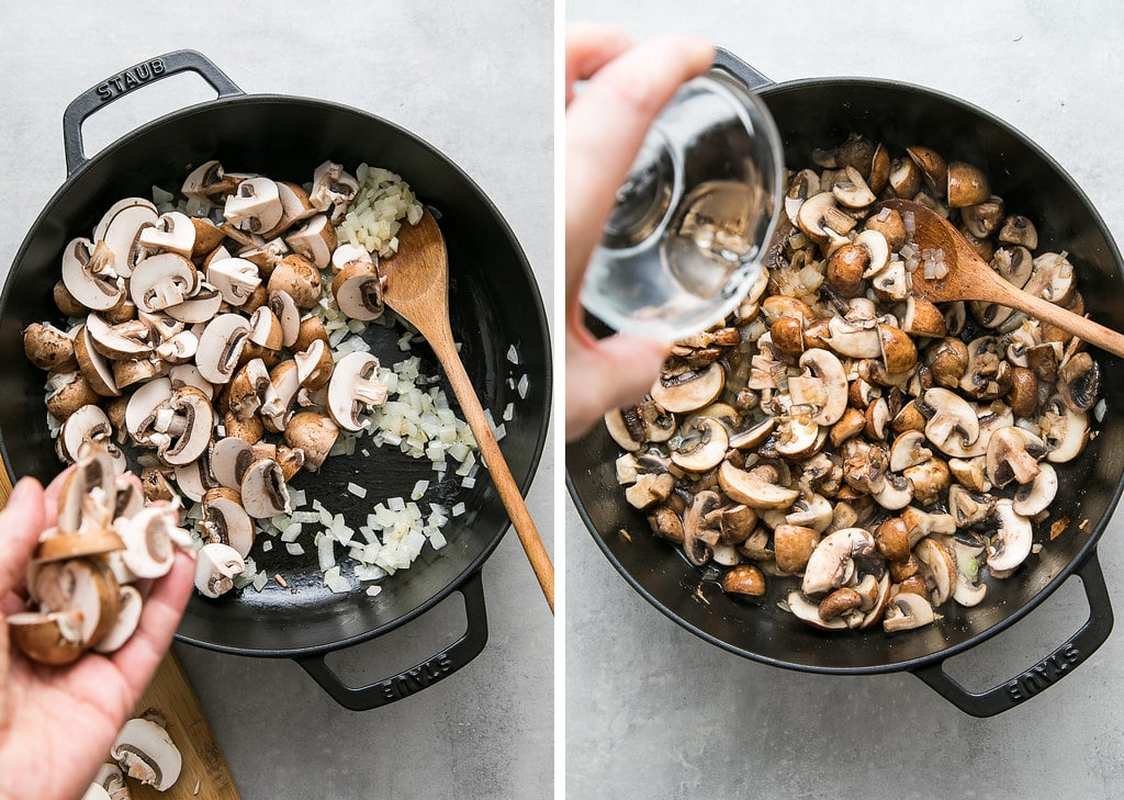 side by side photos showing the process of cooking mushrooms and adding wine to make vegan mushroom gratin.