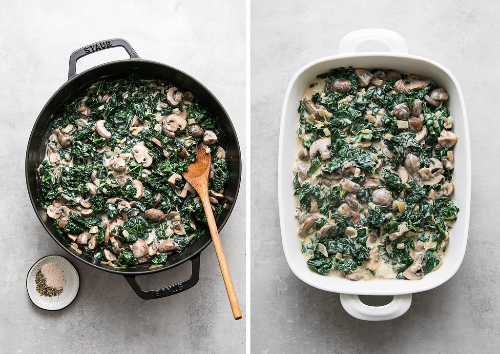 top down view of freshly cooked kale and mushroom gratin cooked and add to a rectangular white baking dish.