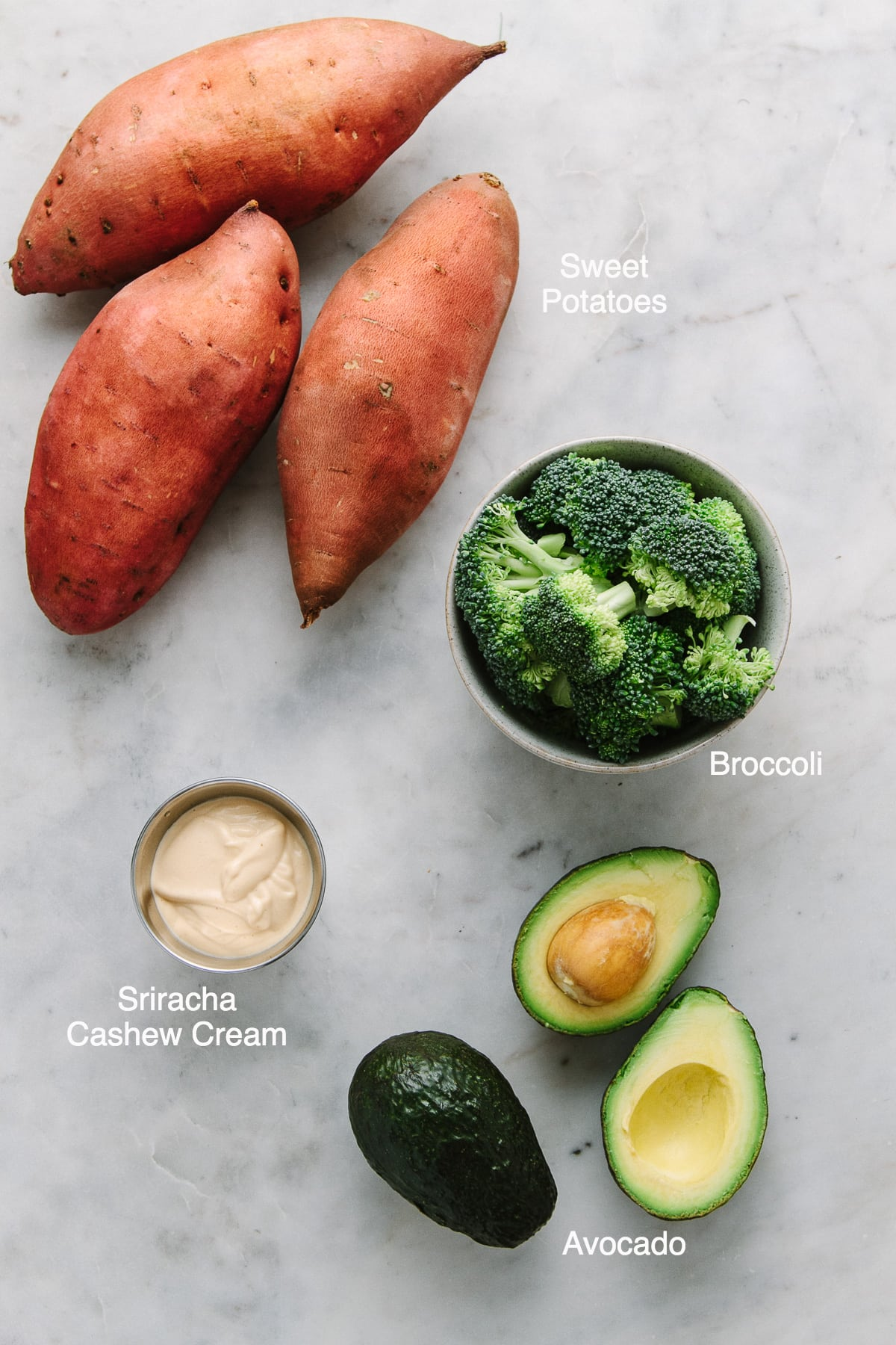top down view of the ingredients used to make vegan stuffed sweet potatoes.