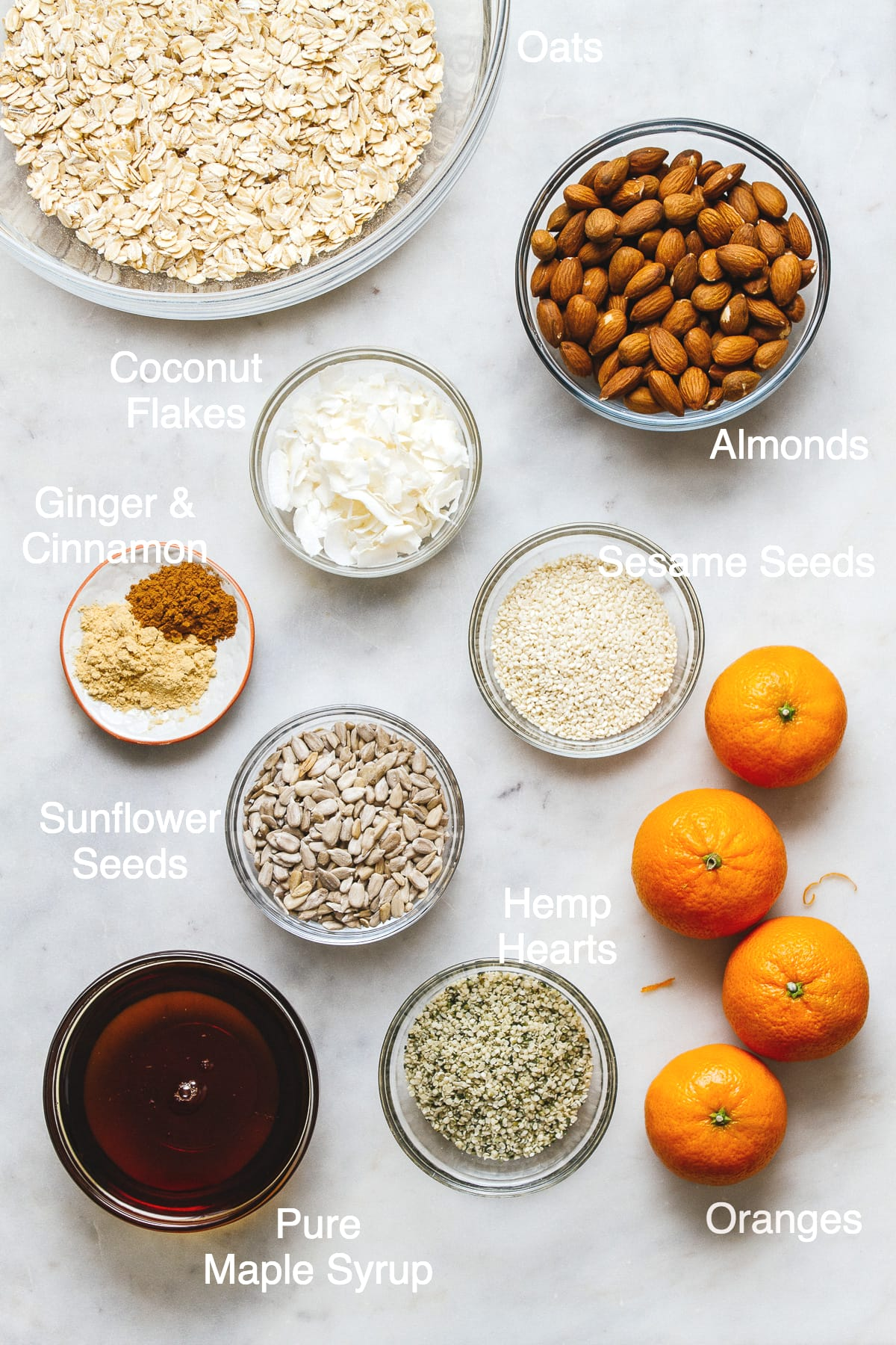top down view of the ingredients used to make healthy orange ginger granola.